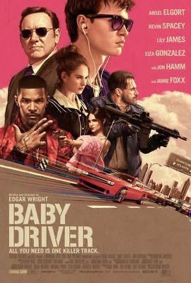 Edgar Wright BABY DRIVER 2017 Orig DS Intl Movie Poster Ansel Elgort Lily James