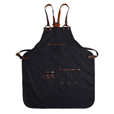 Heavy Duty Waxed Canvas Apron w/ Tool Pockets for Barber Butcher Artist Chef