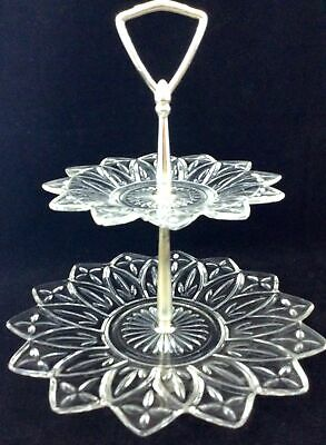 Vtg Federal Glass Petal Clear 2 Tier Tidbit Candy Party Tray Center Handle