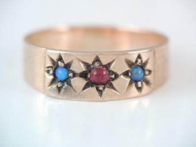 Antique Victorian 10K Rose Gold Colorful Opal And Ruby Ring Childs Size
