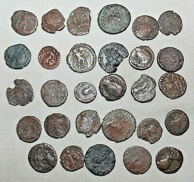Lot of (29) Authentic Ancient Roman Coins Bronze Circa 300 AD Good Shape