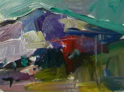 JOSE TRUJILLO Original OIL PAINTING MODERN Collectible 6x8 Expressionist HILL