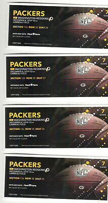 4 Washington Reskins @Green Bay Packers Tickets 12.8.19 HOT same seats as always