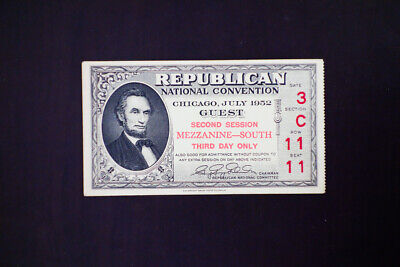 US 1952 Republican National Convention Ticket