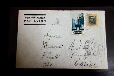 Eritrea Stamps Rare Air Mail Cover to Curino