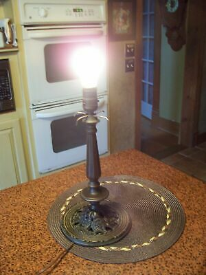 """Antique 14"""" Bronze Color Pedestal Style Lamp Base in Working Condition"""