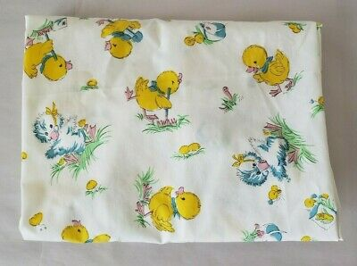 Vintage Yellow Blue Ducks Bunnies Baby Fitted Crib Sheet