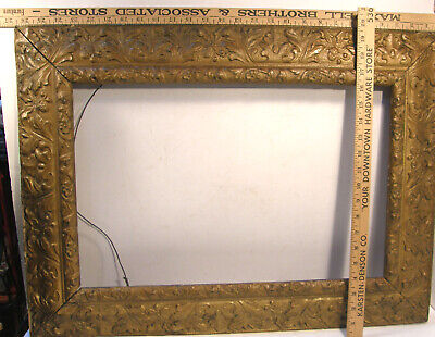 Antique Victorian Gold Ornate Molded Plaster Gesso Picture/mirror Frame 19 X 26