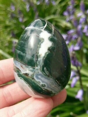 "2"" Gorgeous MOSS AGATE Egg Crystal Stone Healing Reiki Charged 3.9oz *READ*"