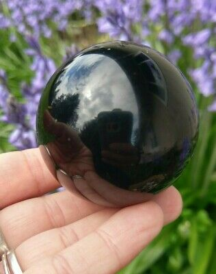 """51mm OBSIDIAN Sphere """"Volcanic Glass"""" Crystal Stone Reiki Charged Protective"""