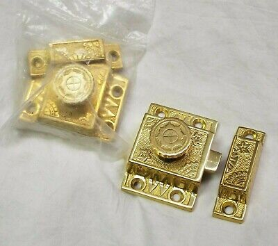 2 Large ORNATE Brass CABINET LATCHES Hardware NEW, UNUSED