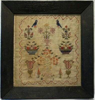 SMALL EARLY 19TH CENTURY MOTIF SAMPLER INITIALLED MJ (MARY JONES?) - c.1834