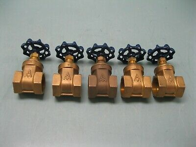 "Lot (5) 1-1/4"" NPT American Granby 200# WOG Brass GV200 Gate Valve NEW G13 (2482"