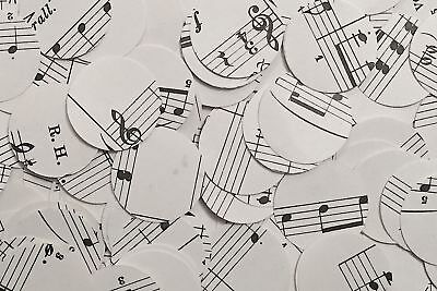 Vintage/Rustic Chic Circle Tea Party Table Confetti/Decor - Sheet Music/Notes