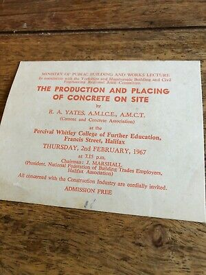 Vintage 1967 Ticket Card Percival Whitley College Placing of Concrete 2nd Feb