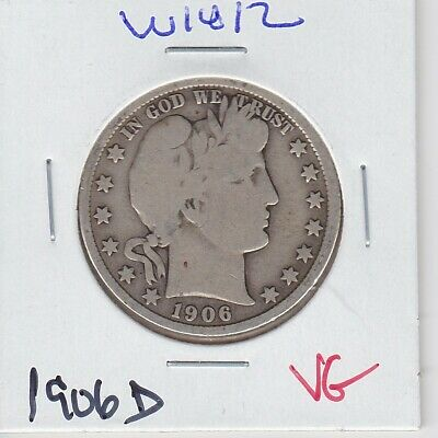Kappyspenny W1812 1906D Vg Very  Good  Barber Silver Half Dollar
