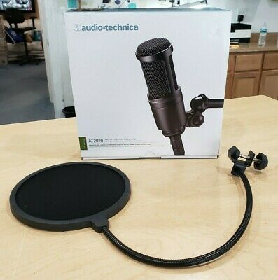 Audio-Technica AT2020 Condenser Wired Professional Microphone New w/ Pop Filter