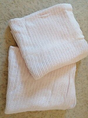 100% cotton pink cellular waffle baby girl blankets like ones used hospital x2