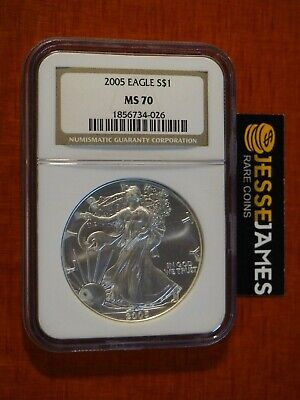 2005 $1 American Silver Eagle Ngc Ms70 Classic Brown Label