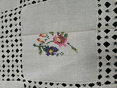 Vintage Cross Stitch Oblong Tablecloth Pink Purple Green  Floral Cutwork Linen