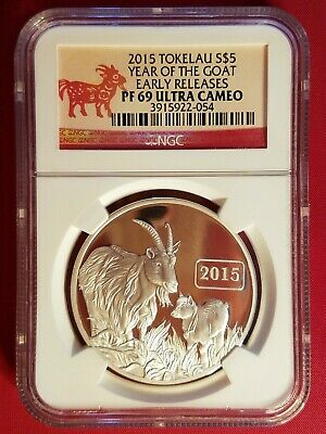 2015 Tokelau Year of the Goat 1 oz. Silver NGC Early Releases PF69 Ultra Cameo
