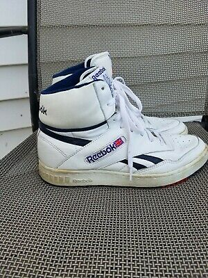 REEBOK HIGH TOP Sneakers Shoes Vintage 80s 90s White Blue Mens SZ 10 *DISTRESSED