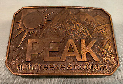 PEAK Antifreeze BELT BUCKLE Anti Freeze & Coolant   Vintage UNIQUE  Hard to Find