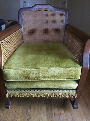 antique rocking chair, avocado green, wicker, rattan, cane, fringe, oak, walnut