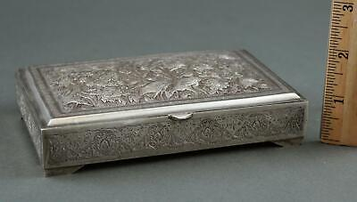 Hallmarked Vintage Middle East .875 Silver, Finely Detailed Bird Repousse Box NR