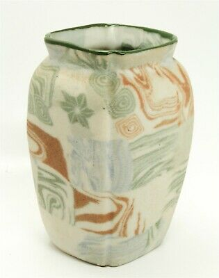 Unusual Vintage Early 20th Century Japanese Banko Tapestry Porcelain Vase Signed