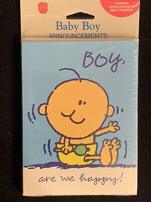BOY, are we happy! Baby Boy Vintage American Greetings Birth Announcement Cards