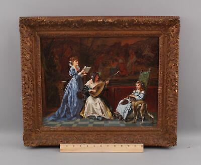 Antique ALLESSANDRO CASTELLI Italian Interior Painting Women &Lute, Borzoi Dog