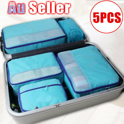 5PCS Clothes Pouch Packing Cube Storage Travel Luggage Suitcase Organizer Bag AU