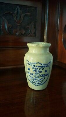 Antique transferred pottery cream pot 'Carricks Cumberland Diary Co Ltd'