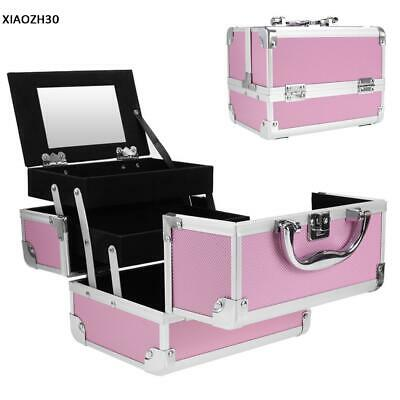 Large Pro Aluminum Makeup Train Case Jewelry Box Cosmetic Organizer Home Travel