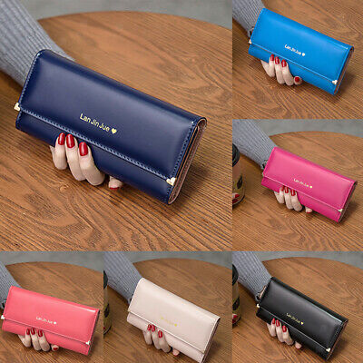 Fashion Women Bifold Wallet PU Leather Clutch Card Holder Lady Long Handbag