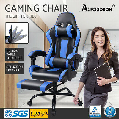 Gaming Office Chair ALFORDSON Executive Racing Footrest Seat PU Leather Blue