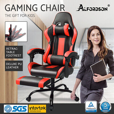 Gaming Office Chair ALFORDSON Executive Racing Footrest Seat PU Leather Red