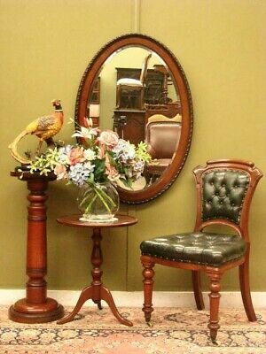Large Antique / Vintage Oval Bevelled Wall Mirror  ~ Beautiful Mahogany Frame