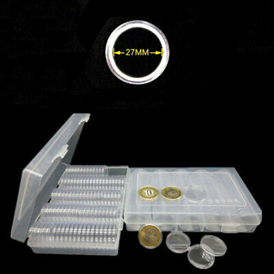 100 Pieces Coin Cases Capsules Holder Applied Clear Plastic Round Storage Box