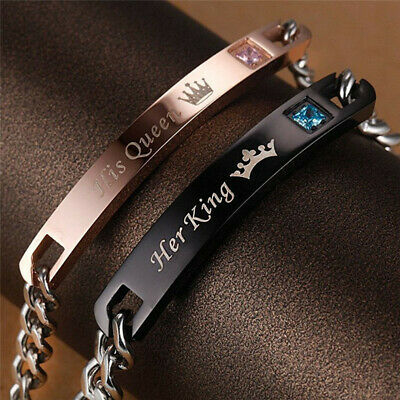 His and Hers Stainless Steel His Queen Her King Lovers Couple Tag Bracelet