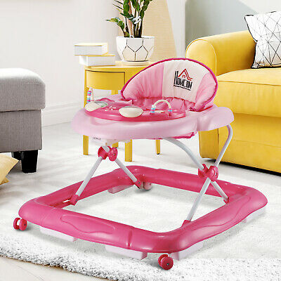 HOMCOM Baby Walker Folding Toddler First Steps Learnig Car Adjustable Pink