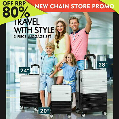 Wanderlite 3pc Carry on Luggage Sets Suitcase Set TSA Hard Case Lightweight