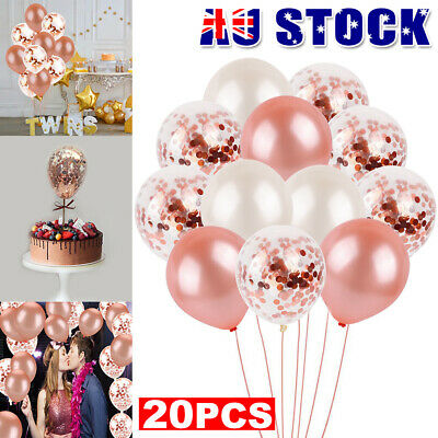 20X Rose Gold Confetti Balloons Wedding Birthday Marriage Party Decoration Gift