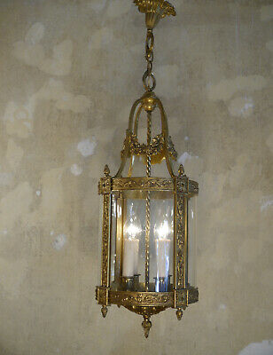 4 Lights Old Bass Hanging Lantern Chandelier Lamp Foyer Brass Antique Shape