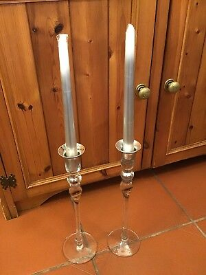 Pair Of Glass Candlesticks With A Silver Colouring On The Holders#Br