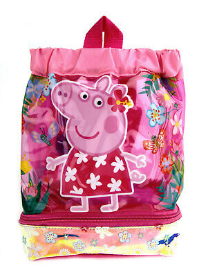 Peppa Pig Girls Water Resistant Swimming Bag Nursery School Backpack Lunch Bag