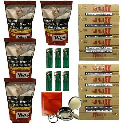 4 WEST Red 170g Volumentabak, Authentic Hülsen, Feuerzeuge, Taschenascher, Box