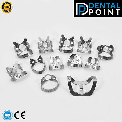 Endodontic Rubber Dam Clamps set of 12 pcs Dental Instruments Endo clamps