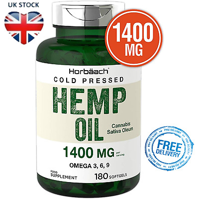 HEMP SEED OIL 180 Softgel Capsules High Strength Concentration 6 Months Supply